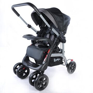 Kinderwagen Sportwagen Delux Jogger Buggy Sportbuggy Kindersportwagen TOP Orange (Schwarz) - 4