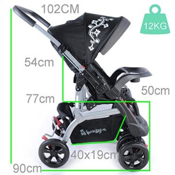 Kinderwagen Sportwagen Delux Jogger Buggy Sportbuggy Kindersportwagen TOP Orange (Schwarz) - 7